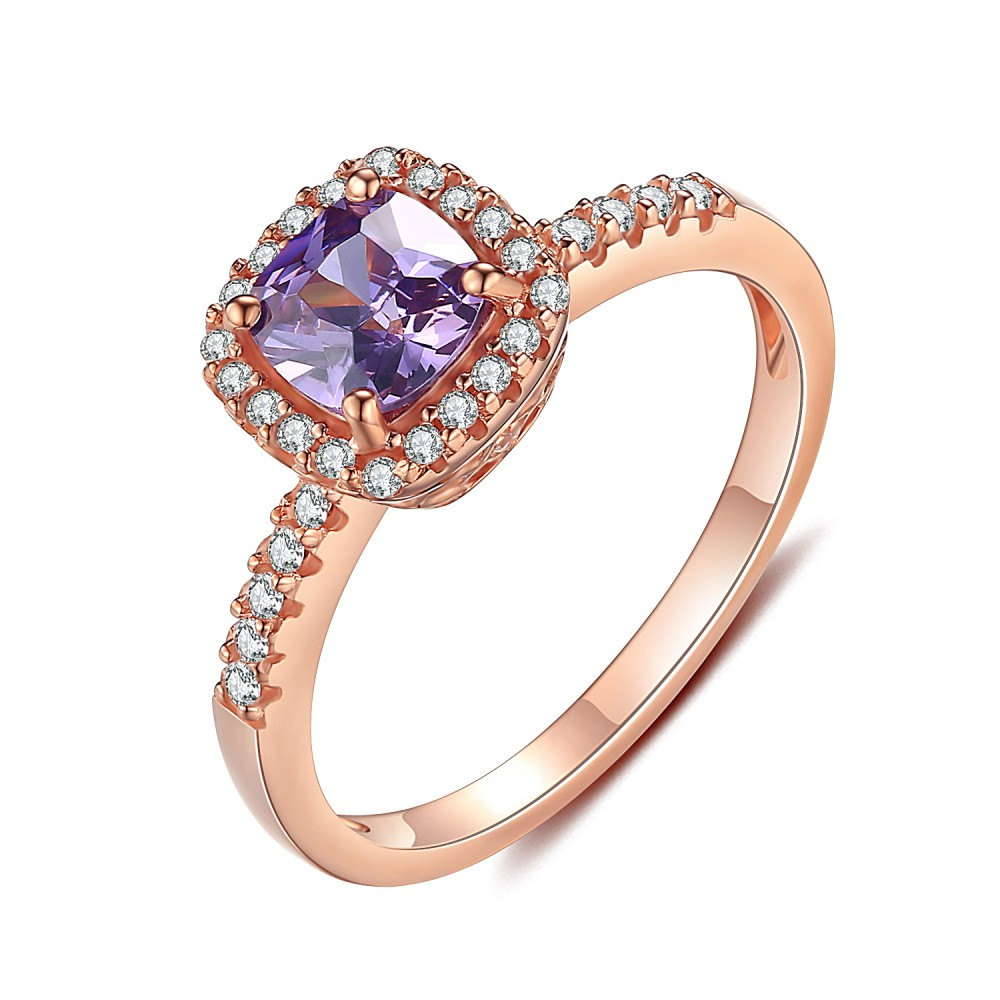 Rose Gold 925 Sterling Silver Asscher Cut Amethyst Engagement Ring