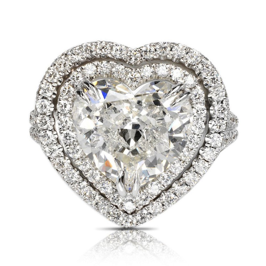 Heart Cut White Sapphire 925 Sterling Silver Double Halo Engagement Rings