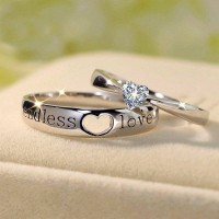 """""""Endless Love"""" Heart Cut Gemstone 925 Sterling Silver Couple Sets"""