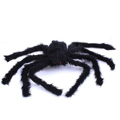 Posable Black Long Plush Spider for Halloween Decoration