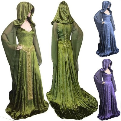 Halloween Witch Cosplay Long Sleeve Maxi Dress
