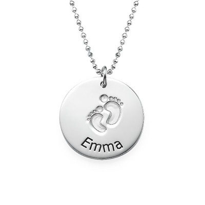 925 Sterling Silver Baby Name Necklace with Footprints
