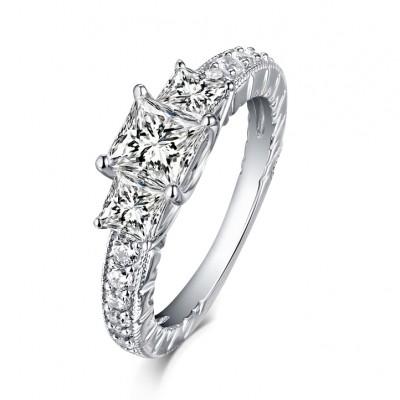 Cushion Cut S925 Silver White Sapphire 3-Stone Engagement Rings