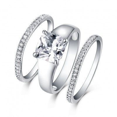 Princess Cut White Sapphire S925 Silver 3 Piece Ring Sets