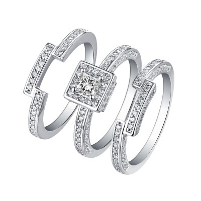 Princess Cut White Sapphire 925 Sterling Silver 3 Piece Halo Ring Sets