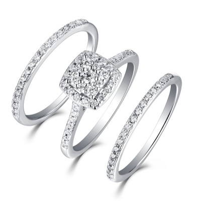 Round Cut 925 Sterling Silver White Sapphire 3 Piece Halo Ring Sets