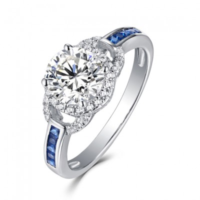 Round Cut S925 White Sapphire & Sapphire Halo Engagement Rings