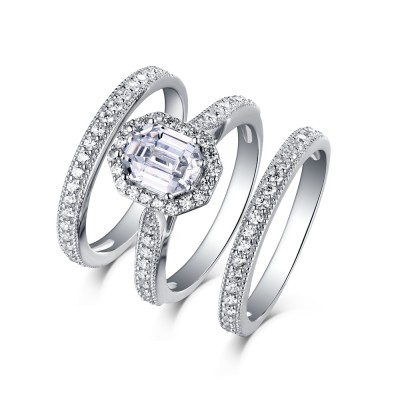 Emerald Cut 925 Sterling Silver White Sapphire 3 Piece Halo Ring Sets