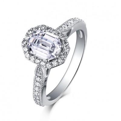 Emerald Cut 925 Sterling Silver White Sapphire Halo Engagement Rings