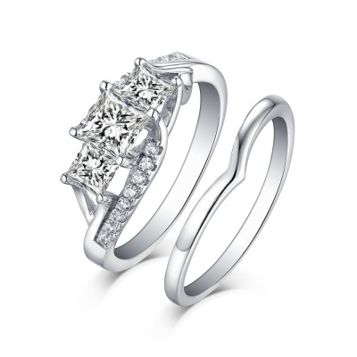 Princess Cut S925 Silver White Sapphire 3-Stone Ring Sets