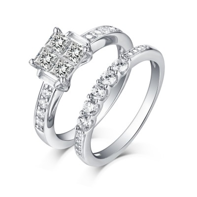 Princess Cut 925 Sterling Silver White Sapphire Ring Sets