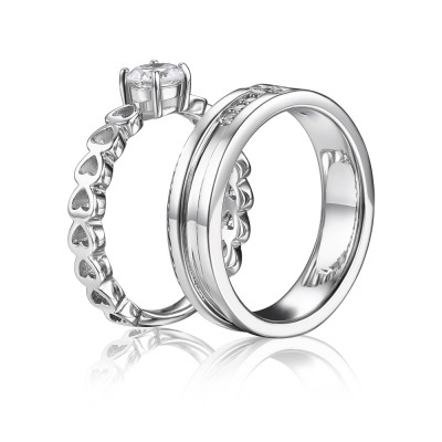 Round Cut Gemstone 925 Sterling Silver Couple Sets