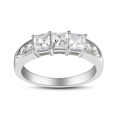 Princess Cut White Sapphire Sterling Silver Three-Stone Engagement Rings