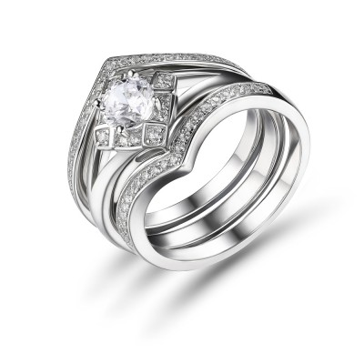 White Sapphire Round Cut 925 Sterling Silver Bridal Sets