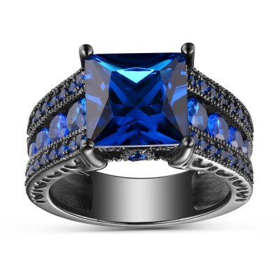 Blue Sapphire Princess Cut Black 925 Sterling Silver Engagement Rings