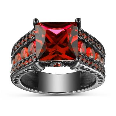 Princess Cut Ruby Black 925 Sterling Silver Engagement Rings