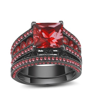 Princess Cut Black 925 Sterling Silver Ruby Ring Sets