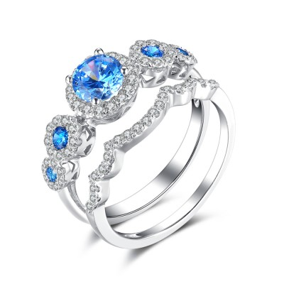 Round Cut Aquamarine 925 Sterling Silver Bridal Sets