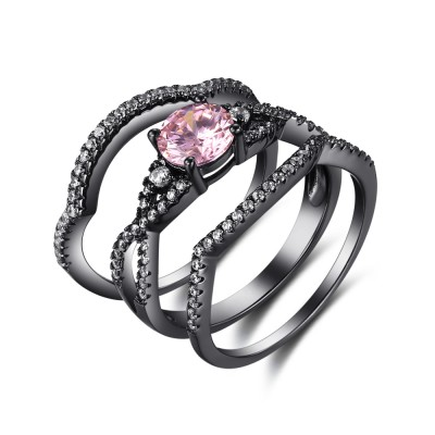 Round Cut Pink Sapphire Black 925 Sterling Silver Bridal Sets
