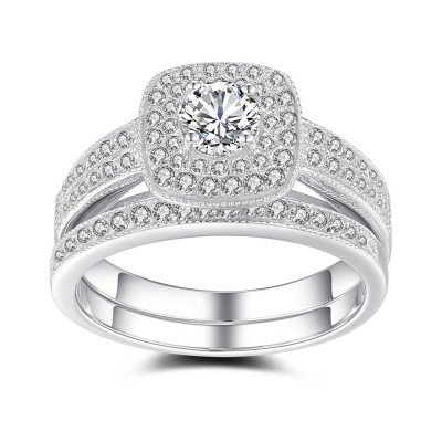 Women's Round Cut White Sapphire Sterling Silver Bridal Sets