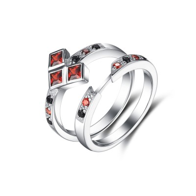 Ruby and Black Sapphire 925 Sterling Silver Bridal Sets