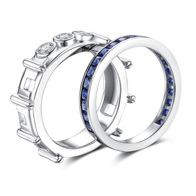Princess Cut Sapphire 925 Sterling Silver Bridal Sets