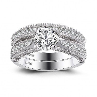 Round Cut White Sapphire Sterling Silver Women's Bridal Ring Set