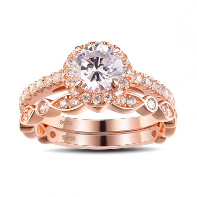 Rose Gold Round Cut White Sapphire Sterling Silver Bridal Sets