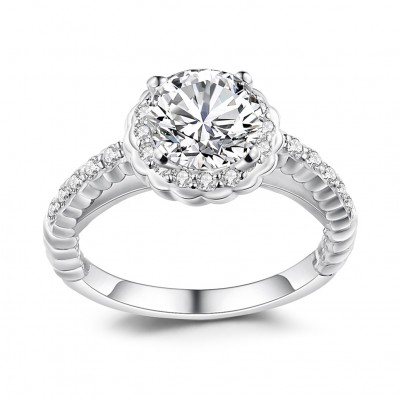 Round Cut White Sapphire Sterling Silver Halo Engagement Rings