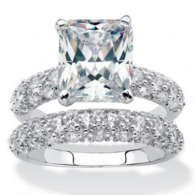 Emerald Cut White Sapphire 925 Sterling Silver Classic Bridal Set