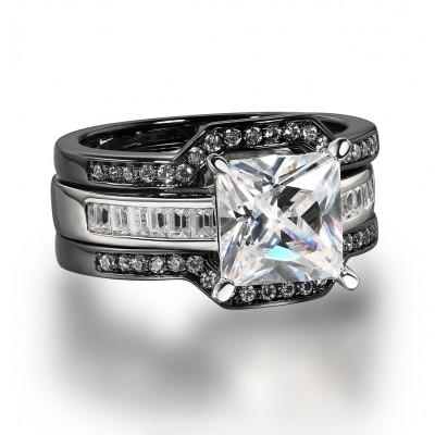 Princess Cut White Sapphire Black 925 Sterling Silver 3 Piece Bridal Sets