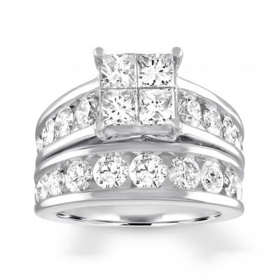 Princess Cut White Sapphire 925 Sterling Silver Bridal Sets