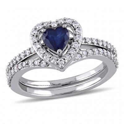 Heart Cut Blue Sapphire Sterling Silver Halo Bridal Sets