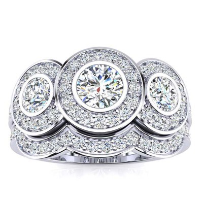Round Cut White Sapphire 925 Sterling Silver 3-Stone Bridal Sets