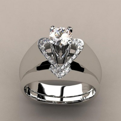 Round Cut Heart Unique Bridal Ring Sets
