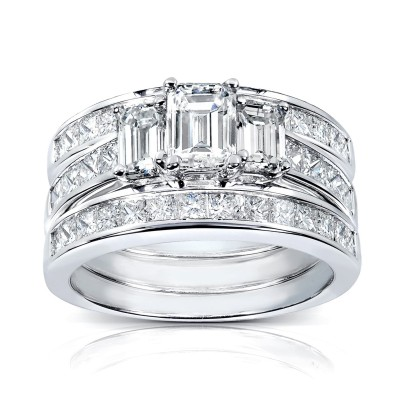 Emerald Cut White Sapphire Sterling Silver 3-Stone 3-Piece Bridal Sets