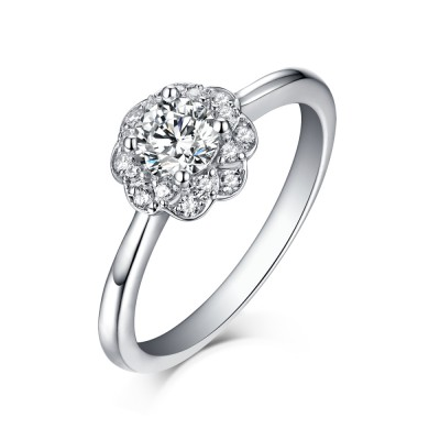 Shining Halo Round Cut White Sapphire 925 Sterling Silver Engagement Rings