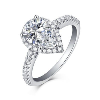 Pear Cut 925 Sterling Silver White Sapphire Halo Engagement Rings