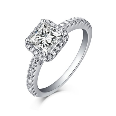 Princess Cut 925 Sterling Silver Halo White Sapphire Engagement Rings