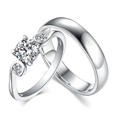 Round Cut White Sapphire 925 Sterling Silver Three Stone Couple Rings
