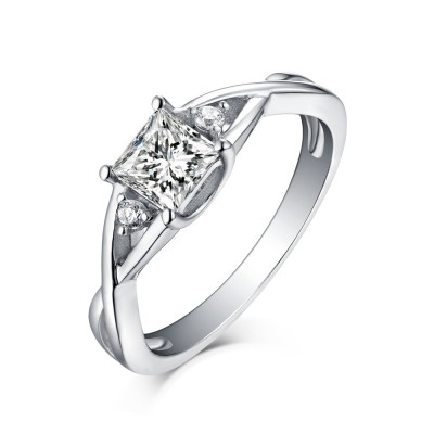 Princess Cut White Sapphire 925 Sterling Silver Engagement Rings