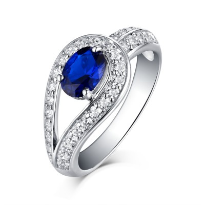 Round Cut Sapphire 925 Sterling Silver Engagement Rings