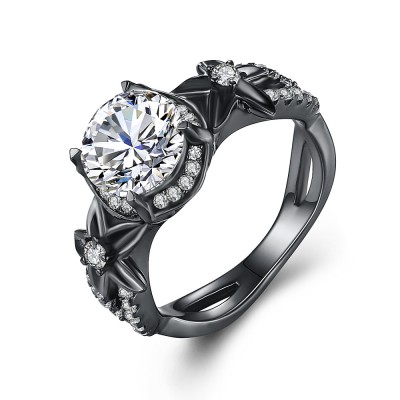 Round Cut White Sapphire Black 925 Sterling Silver Engagement Rings
