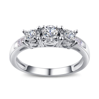 Round Cut Gemstone Sterling Silver Engagement Rings