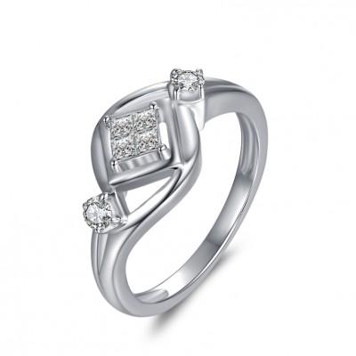 1/10CT Princess Cut Gemstone Sterling Silver Engagement Ring