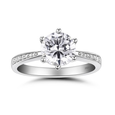 Round Cut White Sapphire 0.5CT 925 Sterling Silver Promise Rings For Her