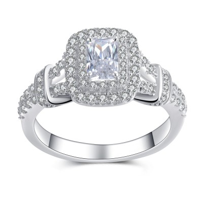 Women's Emerald Cut White Sapphire Sterling Silver Engagement Ring