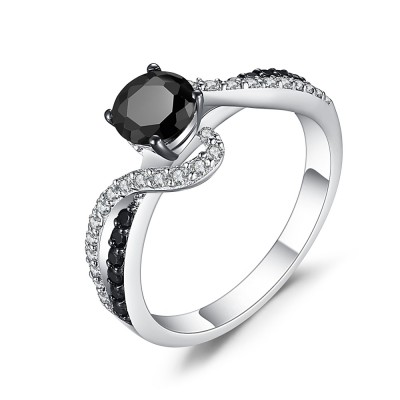 Cushion Cut Black 925 Sterling Silver Engagement Ring