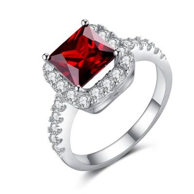 Asscher Cut Ruby 925 Sterling Silver Birthstone Ring