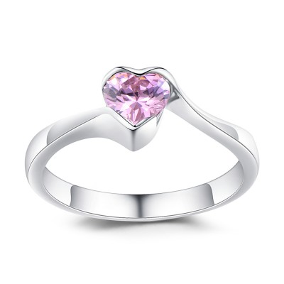 Heart Cut Pink Sapphire 925 Sterling Silver Engagement Ring